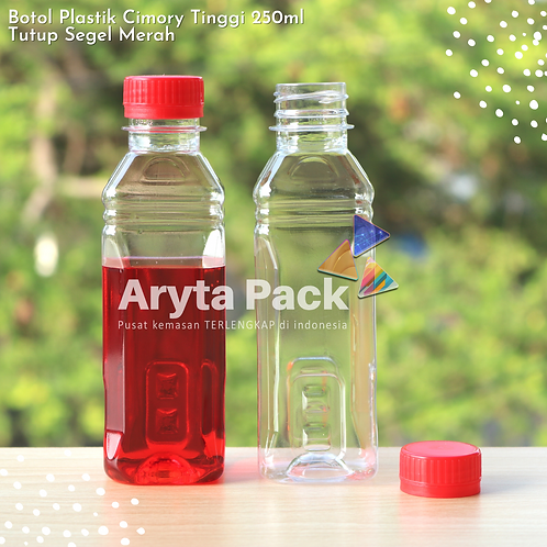 Botol plastik minuman 250ml cimory tinggi tutup segel merah