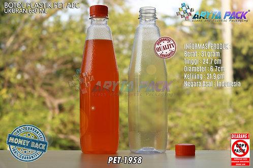 Botol plastik minuman 630ml ABC tutup segel orange