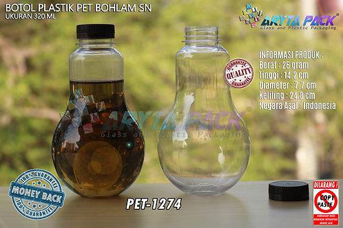 Botol plastik minuman bohlam 320ml tutup pendek coklat segel