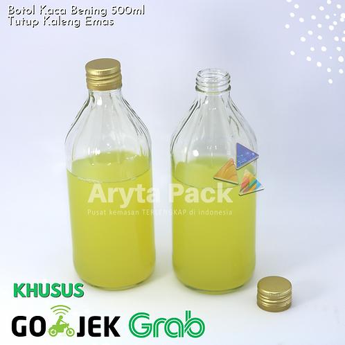 Botol kaca bening 500ml second tutup emas kaleng