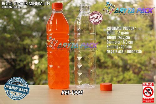Botol plastik pet 600ml aqua tutup segel orange