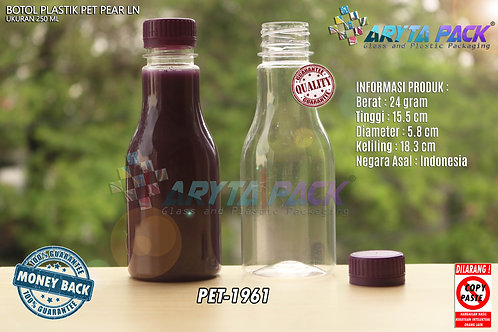 Botol plastik minuman 250ml pear tutup segel ungu