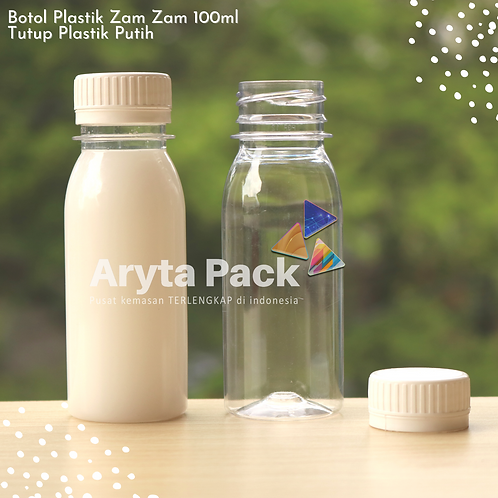 Botol plastik PET 100ml zam-zam tutup segel putih