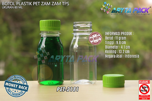 Botol plastik PET 80ml zam-zam tps tutup segel hijau
