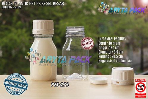 Botol plastik PET 250ml PS tutup segel