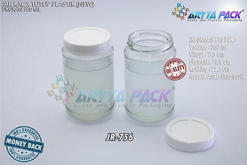 Jar kaca 330ml tutup plastik new