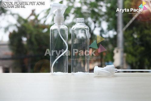 Botol plastik PET 250ml Joni natural tutup spray pistol natural