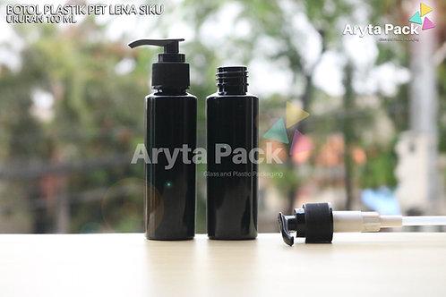 Botol plastik PET 100ml Lena siku hitam tutup pump hitam