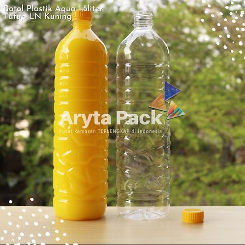 Botol plastik pet 1,5liter aqua tutup segel pendek kuning