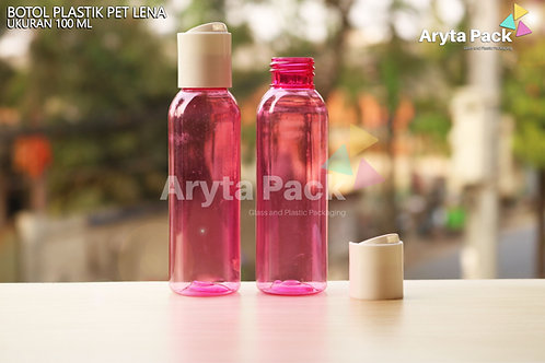Botol plastik PET Lena 100ml  pink tutup press on putih susu