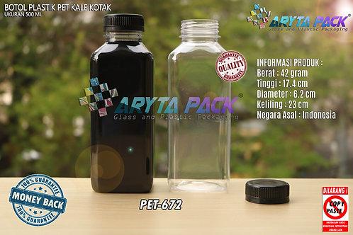 Botol plastik minuman 500ml jus kale kotak tutup hitam segel