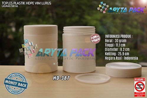 Toples plastik HDPE 500ml vim lurus