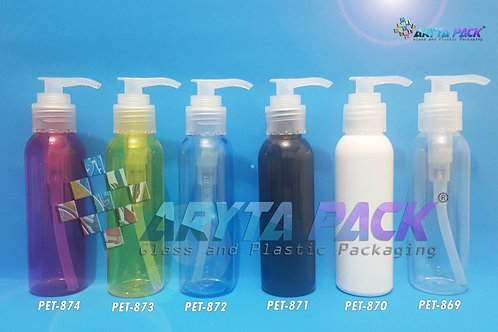 Botol plastik PET 100ml Lena putih susu tutup pump natural
