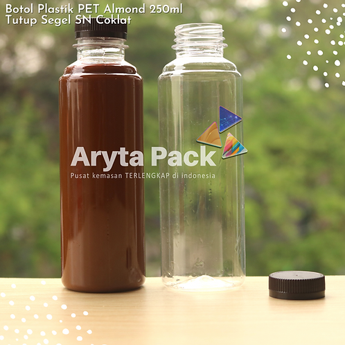 Botol plastik minuman 250ml almond tutup segel coklat