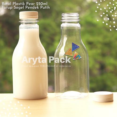 Botol plastik minuman 250ml pear tutup segel pendek putih