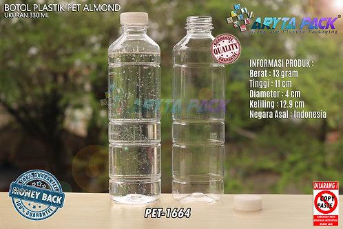 Botol plastik minuman 330ml almond tutup segel natural