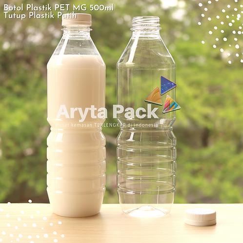 Botol plastik minuman 500ml mg tutup segel putih