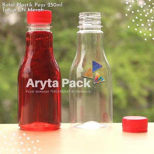 Botol plastik minuman 250ml pear tutup segel merah