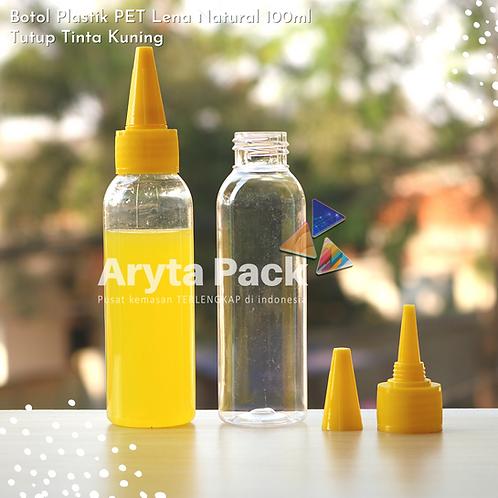 Botol plastik PET 100ml Lena tutup tinta kuning
