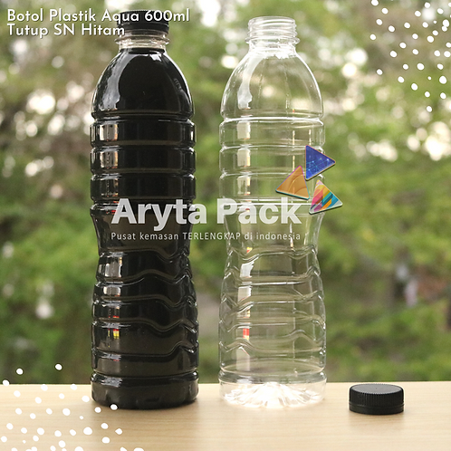 Botol plastik pet 600ml aqua tutup segel pendek hitam