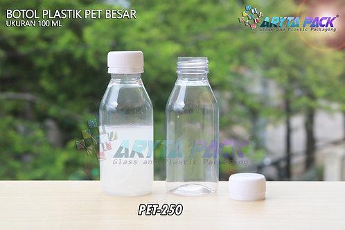 Botol plastik minuman 100ml besar natural tutup segel