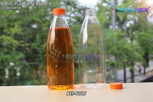 Botol plastik minuman cantik 600ml tutup segel orange