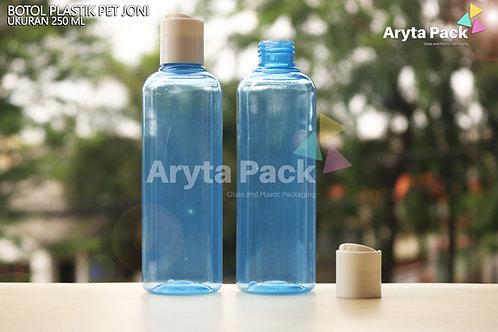 Botol plastik PET Joni 250ml biru tutup press on putih susu