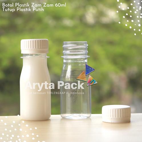 Botol plastik PET 60ml zam-zam tutup segel putih