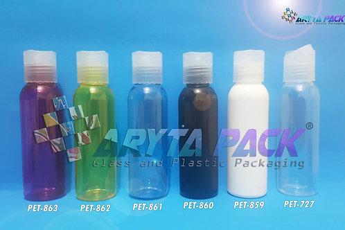 Botol plastik PET Lena 100ml  hitam tutup press on natural