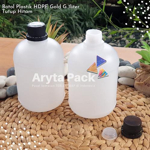 Botol plastik HDPE 1 liter gold G tutup hitam