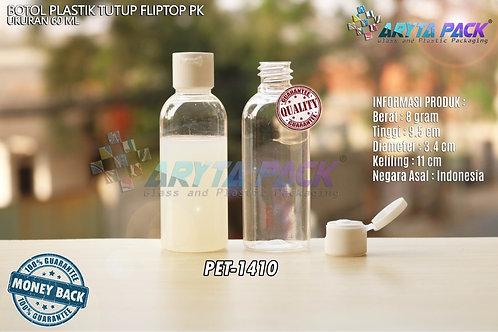 Botol plastik PET lena 60ml natural tutup flip top putih