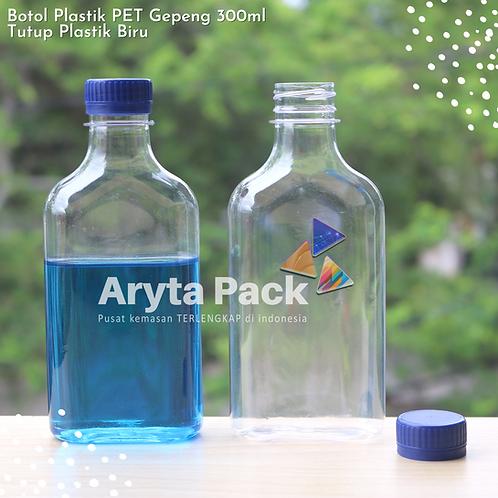 Botol plastik minuman gepeng 300ml tutup segel biru