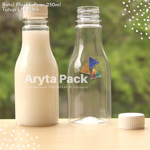 Botol plastik minuman 250ml pear tutup segel putih