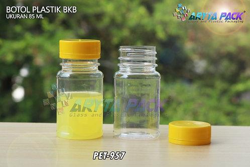Botol plastik minuman 85ml BKB tutup segel kuning