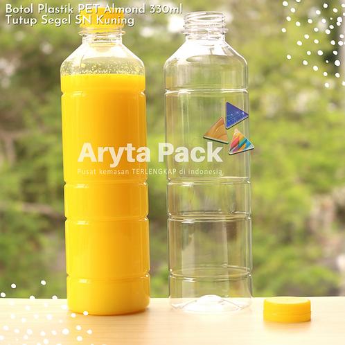 Botol plastik minuman 330ml almond tutup segel kuning
