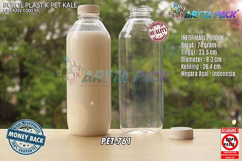 Botol plastik minuman 1liter jus kale tutup putih segel