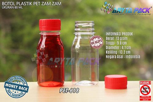 Botol plastik PET 80ml zam-zam tutup segel merah
