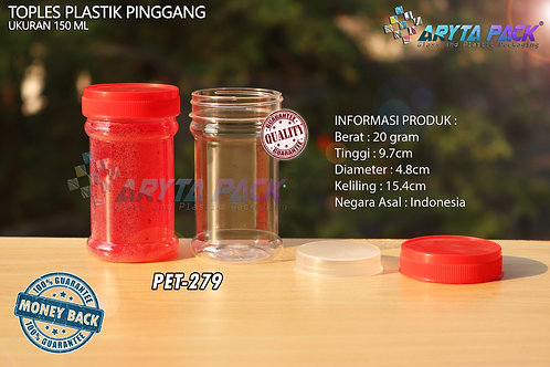 Toples plastik PET 150ml pinggang tutup merah
