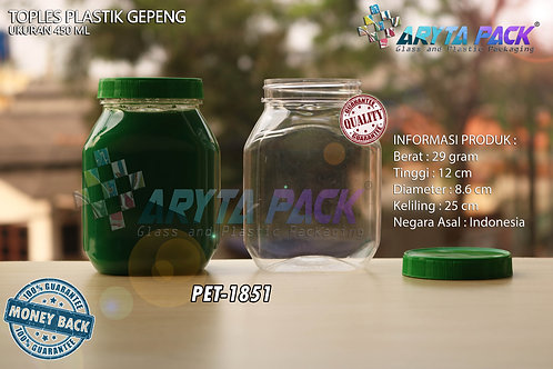 Toples plastik PET 450ml gepeng tutup hijau
