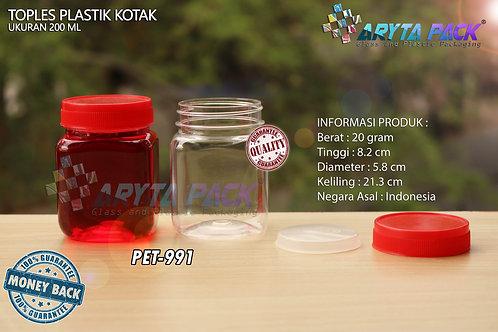 Toples plastik PET 200ml selai kotak tutup merah
