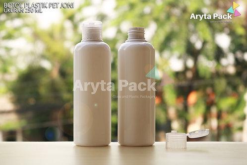 Botol plastik PET Joni 250ml putih susu tutup flip top natural