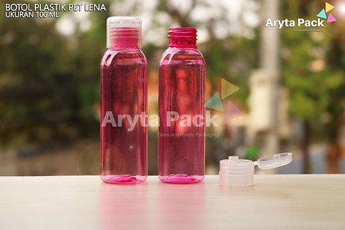 Botol plastik PET Lena 100ml  pink tutup flip top natural