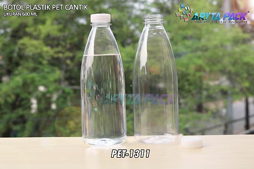 Botol plastik minuman cantik 600ml tutup segel natural