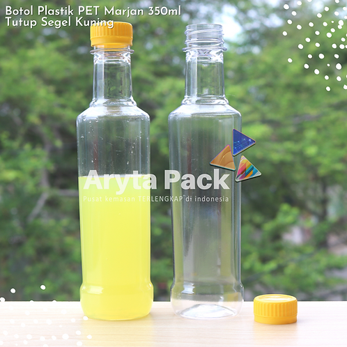 Botol plastik minuman 350ml marjan kecil tutup kuning