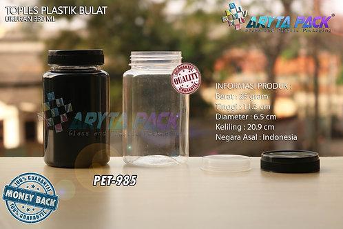 Toples plastik PET 330ml Bulat tutup hitam