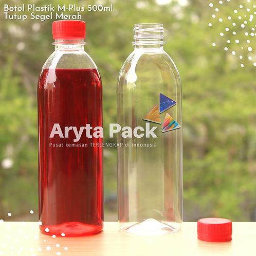Botol plastik minuman 500ml M-plus tutup merah segel