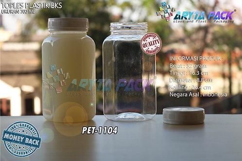 Toples plastik PET 700ml BKS tutup putih