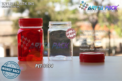 Toples plastik PET 300ml BKS tutup merah