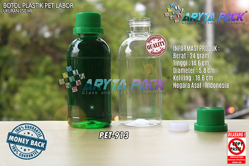 Botol plastik PET 250ml labor tutup segel hijau