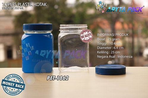 Toples plastik PET 350ml kotak tutup biru